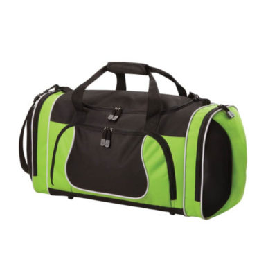 The Black-Lime Active Tog Bag features a alarge storage space with one main zipped compartment, two side zip pockets and one front zip pocket with two carry handles.