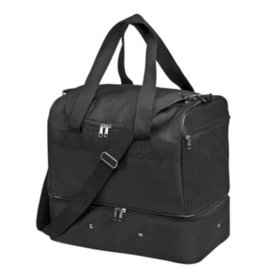 The Double Decker Athlete Bag is available in a sleek shade of black and features a multitude of zippered compartments and pockets for storage.
