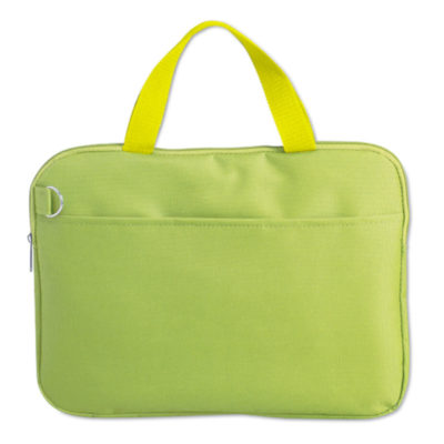 The Document Bag in Lime Green.