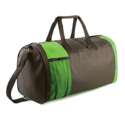 600D Black Tog And Travel Bag With Lime Green Contrast Accents