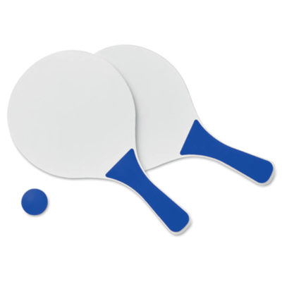 Mini Match Beach Tennis Set Consisting Of 2 White MDF Wooden Rackets With Royal Blue Handles And Royal Blue Soft Ball