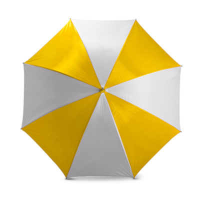 The White/Yellow 8 Panel Golf Umbrella Features A Nylon 2 Tone Colour With 8 Panels.