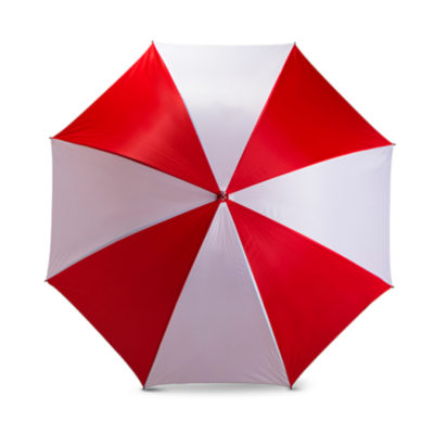 The White/Red 8 Panel Golf Umbrella Features A Nylon 2 Tone Colour With 8 Panels.