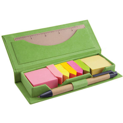 Go green with the Green Eco Memo Set. Not only will you be able to tackle those busy days easier, but you'll have helped the environment too.. With a flap open storage pad, includes ultiple brightly coloured sticky flags, a pen loop, plastic pen with black ink and a card pouch