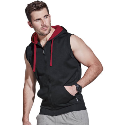 The BRT Endurance Sleeveless Hoody has a contrast inner hood with a zip up front. Made from 100% Polyester pique knit
