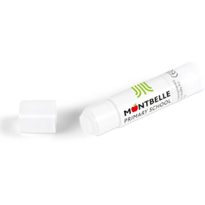 The Stick It Glue is a solid white PVP tube and a removable protective cap and contains sticky glue