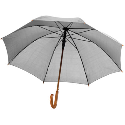 The Grey 8 Panel Booster Umbrella is an elegant and classic style umbrella with a wooden pole that is ideal for outdoor travelling or as a gift.