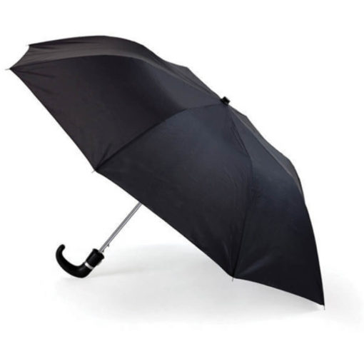 The Black 8 Panel Pop-Up Umbrella is a classy travel umbrella with a black hook handle. It includes an umbrella pouch for easy storage.