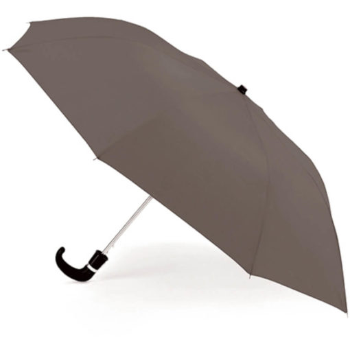 The Grey 8 Panel Pop-Up Umbrella is a classy travel umbrella with a black hook handle. It includes an umbrella pouch for easy storage.