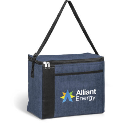 The Blackstone 16-Can Cooler is a navy 600D polycanvas fabric with aluminium lining. With a shoulder strap and can hold up to 16 cans