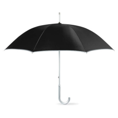 Make sure you're protected from harmful sun rays with the elegant Umbrella with UV-Protection. This lovely umbrella comes in black with a white shaft.