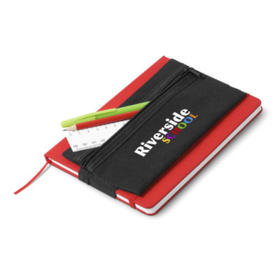 Collegiate Pencil Case has an elastic to fit around your notebook. Rectangular shaped.