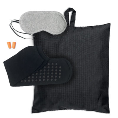 The Dreamy Travel Set is just what you need to catch up on some sleep. It includes an eye mask, socks and earplugs in a beautiful black bag.