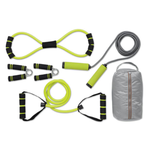 The Get Active Gym Set is a great fitness set made from PVC and is phthalate-free. It includes a jump rope, resistance tube, expander and two handgrips.