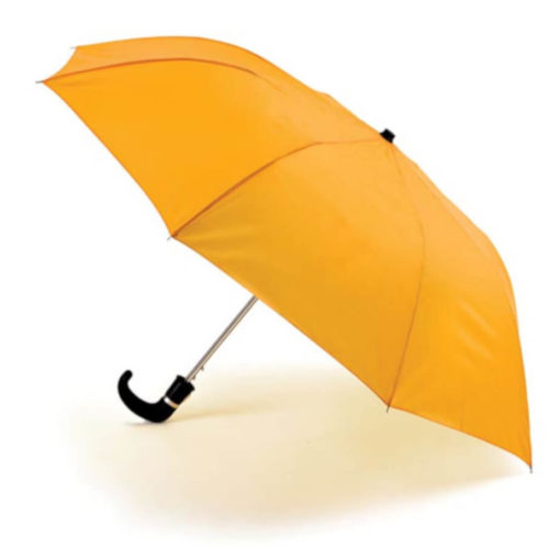 The Yellow 8 Panel Pop-Up Umbrella is a classy travel umbrella with a black hook handle. It includes an umbrella pouch for easy storage.
