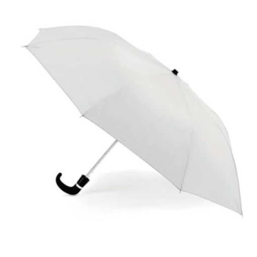 The White 8 Panel Pop-Up Umbrella is a classy travel umbrella with a black hook handle. It includes an umbrella pouch for easy storage.