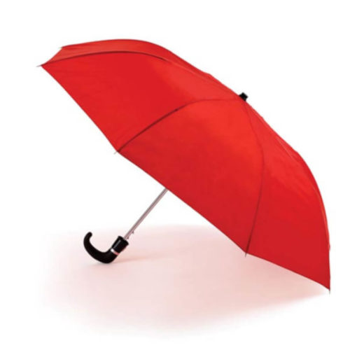 The Red 8 Panel Pop-Up Umbrella is a classy travel umbrella with a black hook handle. It includes an umbrella pouch for easy storage.