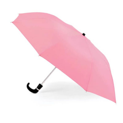 The Pink 8 Panel Pop-Up Umbrella is a classy travel umbrella with a black hook handle. It includes an umbrella pouch for easy storage.