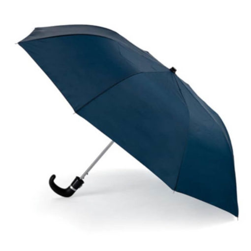 The Navy 8 Panel Pop-Up Umbrella is a classy travel umbrella with a black hook handle. It includes an umbrella pouch for easy storage.