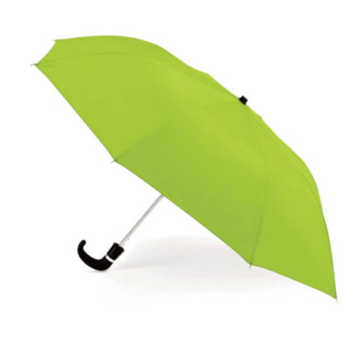 The Lime Green 8 Panel Pop-Up Umbrella is a classy travel umbrella with a black hook handle. It includes an umbrella pouch for easy storage.