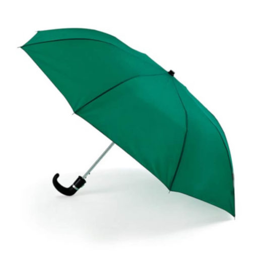 The Green 8 Panel Pop-Up Umbrella is a classy travel umbrella with a black hook handle. It includes an umbrella pouch for easy storage.