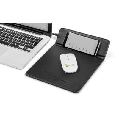 Black PU Ashburton Mousepad With Wireless Charger