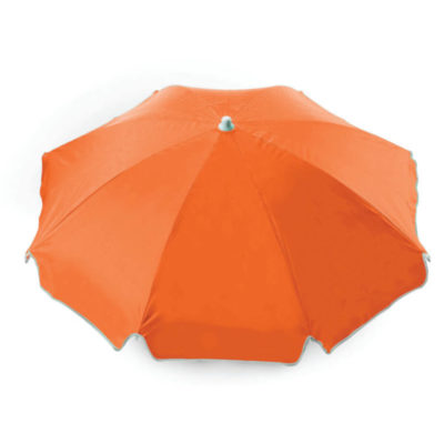 The Orange 8 Panel Beach Umbrella WB is a sturdy two-meter wide umbrella with a white trim that is perfect to showcase your design or brand.