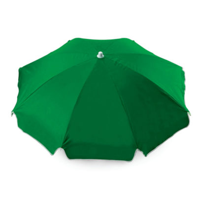 The Green 8 Panel Beach Umbrella WB is a sturdy two-meter wide umbrella with a white trim that is perfect to showcase your design or brand.