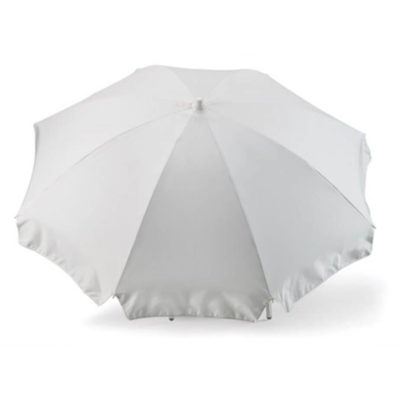 The White 8 Panel Beach Umbrella is a sturdy two-meter wide umbrella that is perfect to showcase your personal design or brand during an outdoor event.