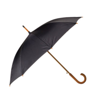The Black 8 Panel Booster Umbrella is an elegant and classic style umbrella with a wooden pole that is ideal for outdoor travelling or as a gift.