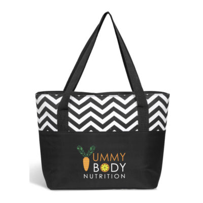 Black Ripple Tote Cooler Bag With Zig Zag Pattern Accent