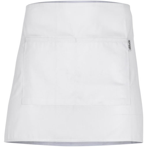 The Promo Waiters Apron is a white poly cotton half apron with front pockets