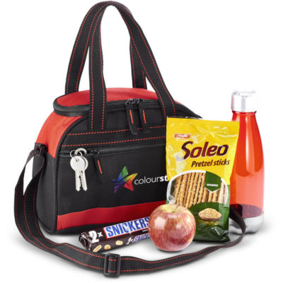 The Brisk Cooler - 9-Can is a black and red 600D cooler bag with foil lining, one main zippered compartment, a front zip pouch, lengthy top carry handles and an adjustable and removable shoulder strap