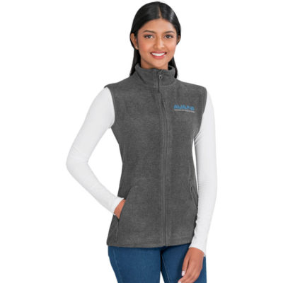 The Ladies Oslo Fleece Bodywarmer is 100% polyester charcoal micro fleece bodywarmer. With side zipped pockets, full zip with chin protector and panel lines for body contouring.