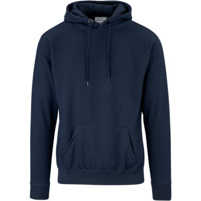 The Mens Essential Hooded Sweater is a long sleeve, superior fabric brushed fleece black hoodie. With a kangaroo pouch, a two piece attached hood and matching drawstring, rib cuff sleve and hem