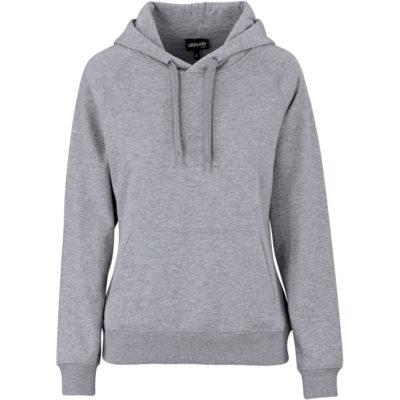 The Ladies Harvard Heavyweight Hooded Sweater is a grey 280gsm 60% cotton and 40% polyester brushed fleece with a kangaroo pocket, a single jersey knit lining, raglan sleeve, matching rib on sleeve cuff and hem and a drawstring closure