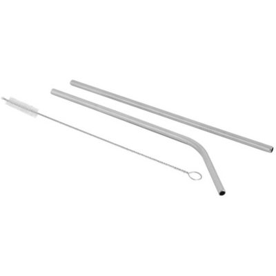 The Stainless Steel Straws And Pipe Cleaner is made from silver stainless steel. With a straight straw, curved straw and pipe cleaner