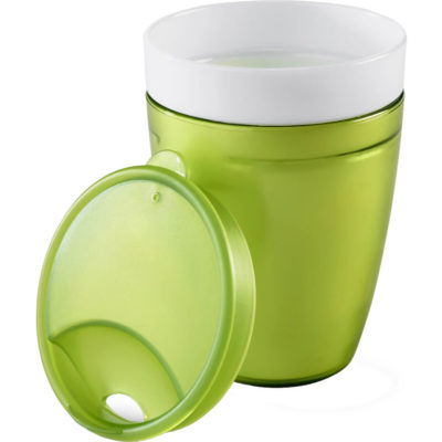 The Manhattan Double-Wall Tumbler is made from a BPA-Free PP plastic with a capacity of 300ml. It has a removable sip lid, the tumblr is not dishwasher safe.