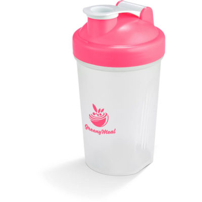 The Shake & Burn Protein Shaker in Blue is a semi transparent 400ml PP shaker with a pink screw on lid, white flip up lid and stainless steel shaker ball