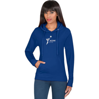 The Ladies Essential Hooded Sweater is a long sleeve, superior fabric brushed fleece hoodie, with a kangaroo pouch, a two piece attached hood and matching drawstring, rib cuff sleeve and hem. Available in different sizes and colours