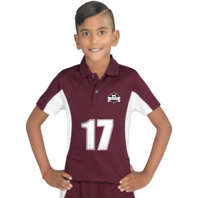 Kids Championship Golf Shirt in maroon with white side inserts. Short sleeve, knitted collar with two button placket