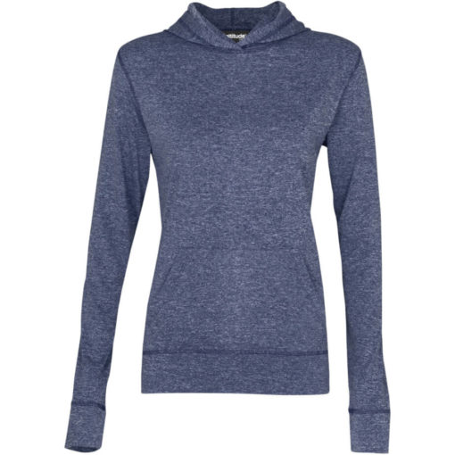 The Ladies Fitness Lightweight Hooded Sweater is a 100% dry-fit polyester melange navy long sleeve. Features a self-fabric kangaroo pocket with a matching sleeve cuff and hem, 2-piece fixed hood and flossing at the seams.
