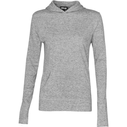 The Ladies Fitness Lightweight Hooded Sweater is a 100% dry-fit polyester melange grey long sleeve. Features a self-fabric kangaroo pocket with a matching sleeve cuff and hem, 2-piece fixed hood and flossing at the seams.
