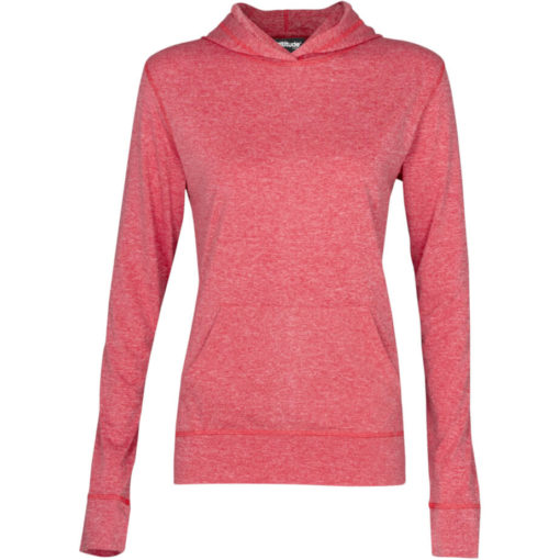 The Ladies Fitness Lightweight Hooded Sweater is a 100% dry-fit polyester melange red long sleeve. Features a self-fabric kangaroo pocket with a matching sleeve cuff and hem, 2-piece fixed hood and flossing at the seams.