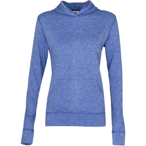 The Ladies Fitness Lightweight Hooded Sweater is a 100% dry-fit polyester melange royal blue long sleeve. Features a self-fabric kangaroo pocket with a matching sleeve cuff and hem, 2-piece fixed hood and flossing at the seams.
