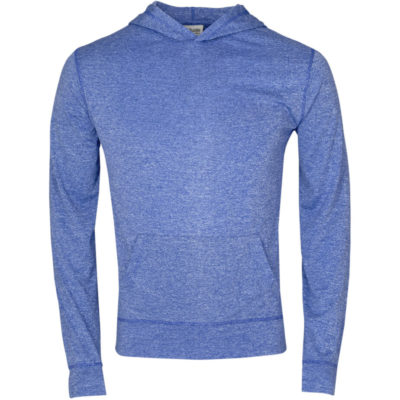 The Mens Fitness Lightweight Hooded Sweater is a 100% dry-fit polyester melange royal blue long sleeve. Features a self-fabric kangaroo pocket with a matching sleeve cuff and hem, 2-piece fixed hood and flossing at the seams.