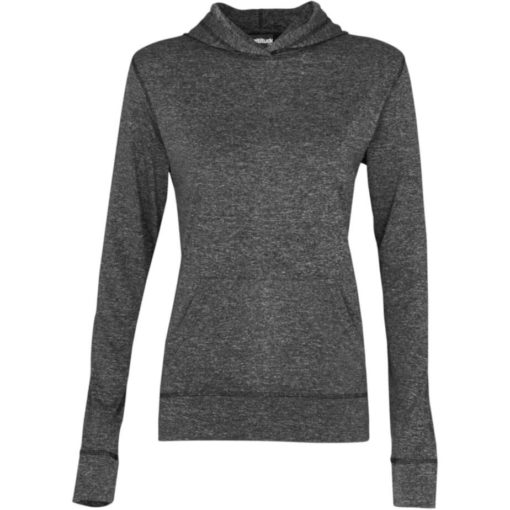 The Ladies Fitness Lightweight Hooded Sweater is a 100% dry-fit polyester melange black long sleeve. Features a self-fabric kangaroo pocket with a matching sleeve cuff and hem, 2-piece fixed hood and flossing at the seams.
