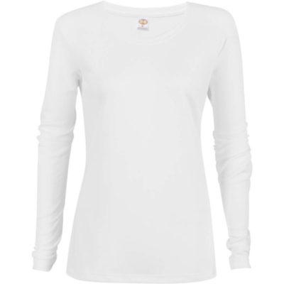 The Ladies Long Sleeve All Star T-Shirt is a white long sleeve tshirt with a self fabric crew neck. 100% polyester birdseye material.
