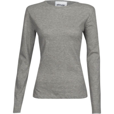 The Ladies Long Sleeve Altitude T-Shirt is a grey 100% cotton, single jersey knit long sleeve with a crew neck and self-fabric binding detail