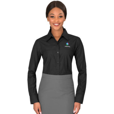 The Ladies Long Sleeve Empire Shirt is a polyester and cotton poplin blend in black. With a full length button up panel, adjustable cuffs and a concealed pocket on the front left chest